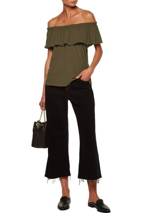 CURRENT/ELLIOTT The Ruffle off-the-shoulder cotton-jersey top