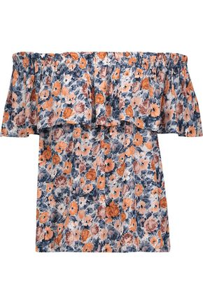 CURRENT/ELLIOTT The Ruffle off-the-shoulder floral-print gauze top