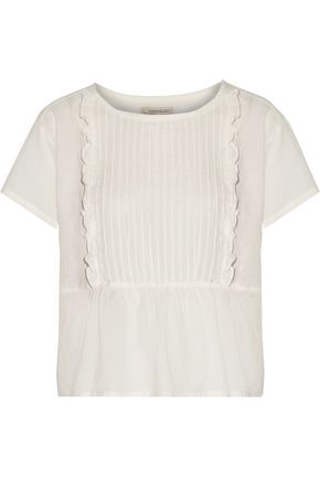 CURRENT/ELLIOTT Ruffle-trimmed pintucked cotton-gauze top