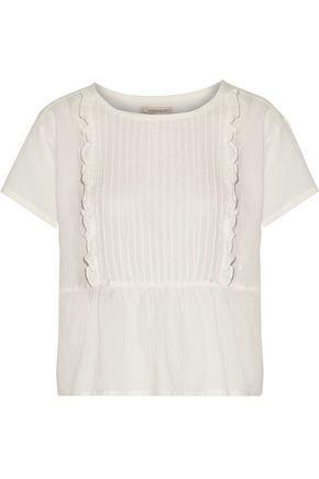 CURRENT/ELLIOTT Ruffle-trimmed pintucked cotton-gauze top