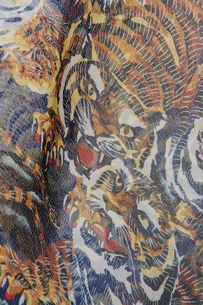 KENZO Printed silk-blend crepe de chine coverup