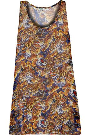 KENZO Printed silk-blend crepe de chine coverup