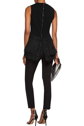 ANTONIO BERARDI Broderie anglaise-paneled stretch-knit peplum top