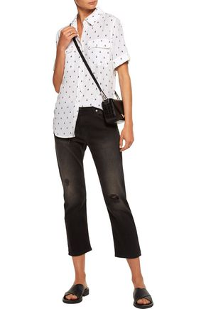 EQUIPMENT Slim Signature printed washed-silk top