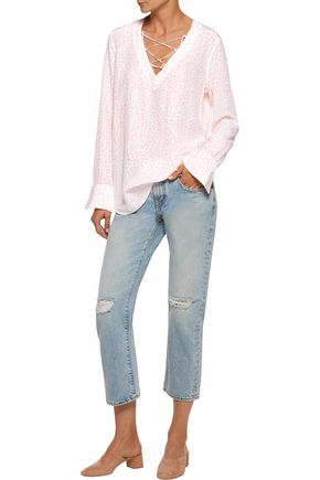 EQUIPMENT FEMME Avianna lace-up printed washed-silk top
