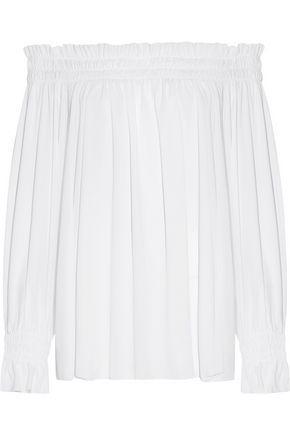 NORMA KAMALI Peasant off-the-shoulder ruffled chiffon top
