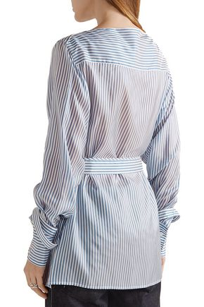 CALVIN KLEIN COLLECTION Striped satin-twill top