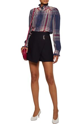 PHILOSOPHY di LORENZO SERAFINI Ruffle-trimmed checked twill blouse