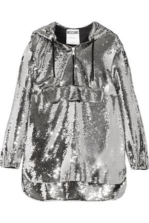 MOSCHINO Hooded sequinned chiffon sweatshirt