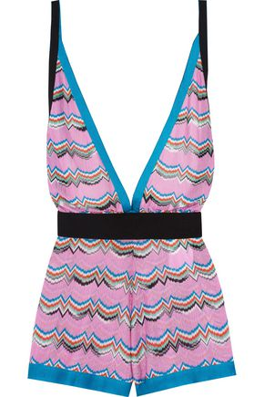 MISSONI Grosgrain-trimmed crochet-knit playsuit