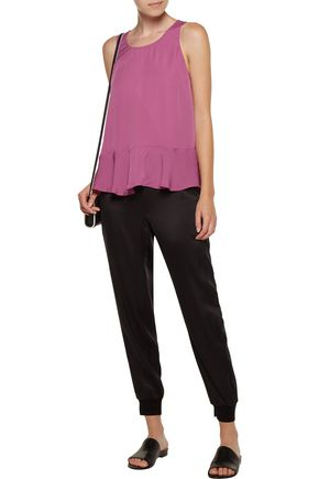 JOIE Micha layered silk-cady and georgette top