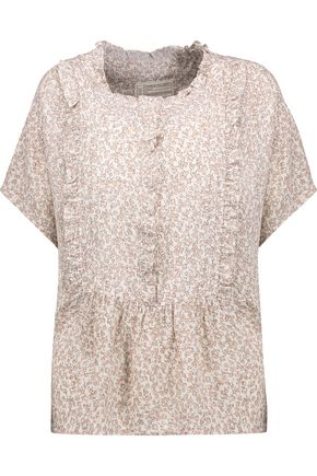 CURRENT/ELLIOTT The Harbor ruffled printed crepe top