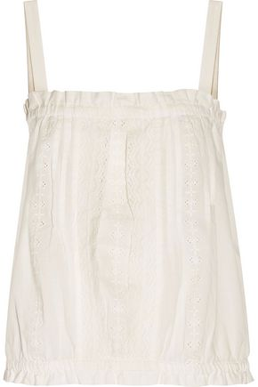 CURRENT/ELLIOTT The Lace broderie anglaise cotton tank