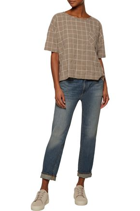 CURRENT/ELLIOTT The Pocket checked crinkled cotton top