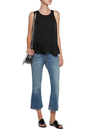 JOIE Layered silk crepe de chine and chiffon top