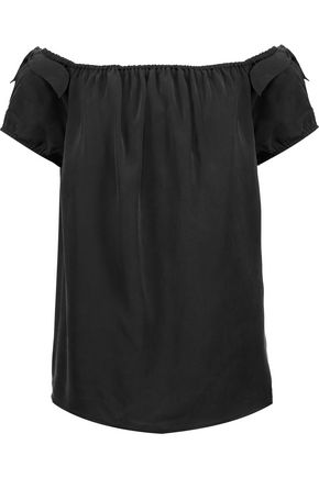 JOIE Caidan off-the-shoulder washed-silk top