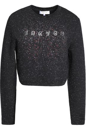 CARVEN Cropped metallic printed cotton-blend jersey sweatshirt