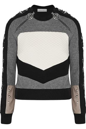 CARVEN Embellished paneled wool-blend, cloqué and crepe sweatshirt