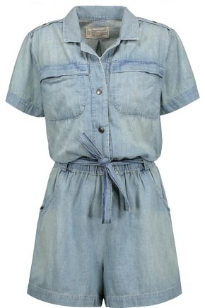 CURRENT/ELLIOTT Belted cotton-chambray playsuit