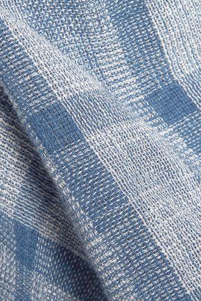 CURRENT/ELLIOTT Asymmetric checked linen and cotton-blend top