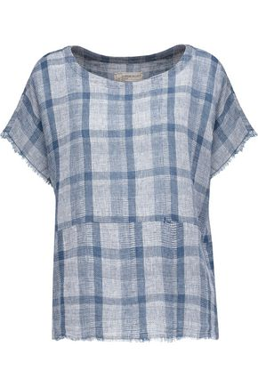 CURRENT/ELLIOTT Asymmetric checked linen and cotton-blend top