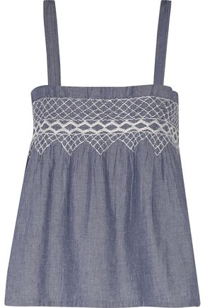 CURRENT/ELLIOTT Smocked embroidered cotton-chambray top
