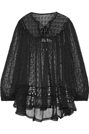 ZIMMERMANN Belle paneled lace and embroidered silk-voile blouse