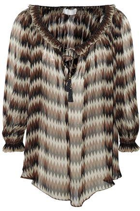 ZIMMERMANN Harlequin ruffle-trimmed printed silk-chiffon top