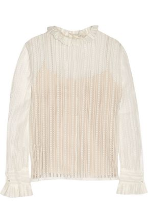 PHILOSOPHY di LORENZO SERAFINI Ruffled cotton-blend lace blouse
