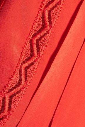 PHILOSOPHY di LORENZO SERAFINI Ruffled tulle-trimmed crepe de chine blouse
