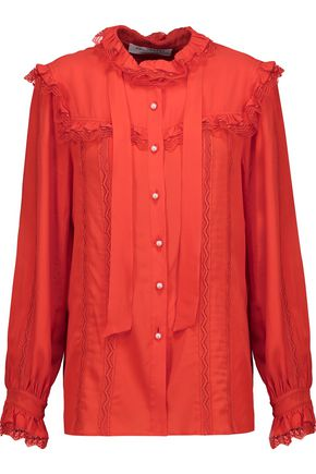 PHILOSOPHY di LORENZO SERAFINI Ruffled tulle-trimmed crepe de chine blouse