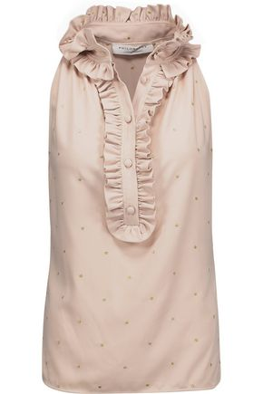 PHILOSOPHY di LORENZO SERAFINI Ruffle-trimmed metallic embroidered crepe top