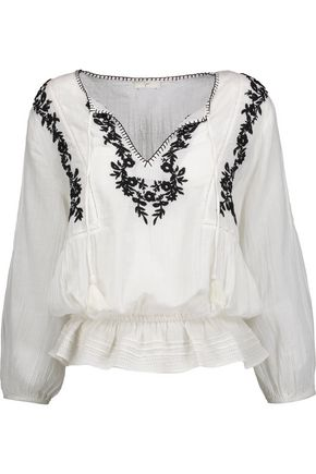 JOIE Virani ruffled embroidered cotton-gauze top