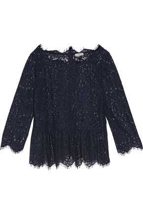 JOIE Koda gathered corded lace peplum top