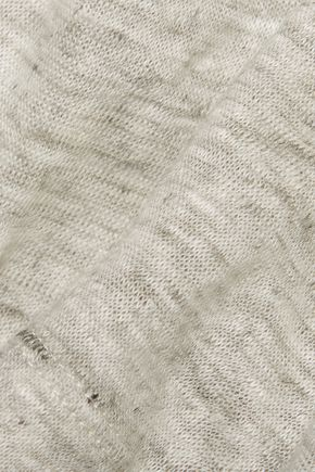 MAJESTIC Wrap-effect marled linen top