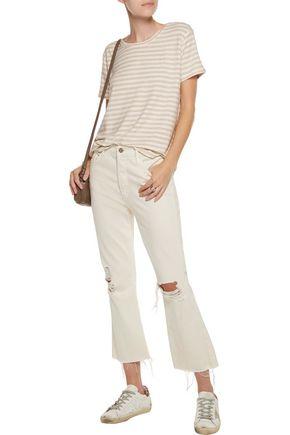 MAJESTIC Striped stretch-jersey top