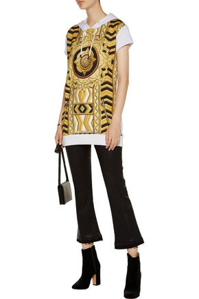 VERSACE JEANS Paneled printed jersey and cotton-blend hooded top