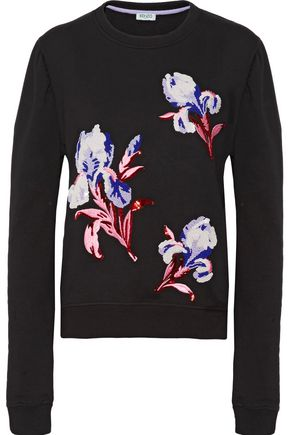 KENZO Embellished embroidered cotton sweatshirt