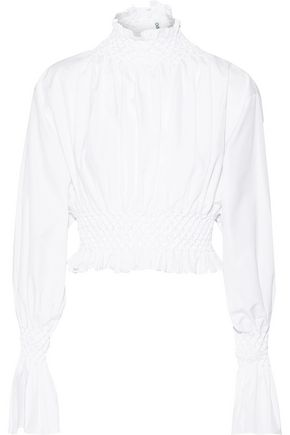 KENZO Smocked-trimmed cotton-poplin turtleneck top