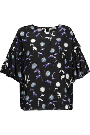 KENZO Smocked ruffled printed silk crepe de chine top