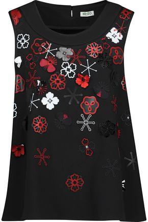 KENZO Embellished embroidered crepe top