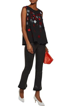 KENZO Embellished embroidered crepe top