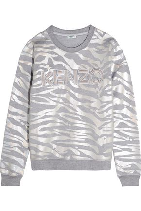 KENZO Metallic tiger-print cotton-jersey sweatshirt