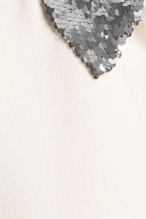MAJE Sequin-trimmed cloqué top