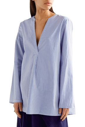 THEORY Ofeliah striped cotton-poplin shirt
