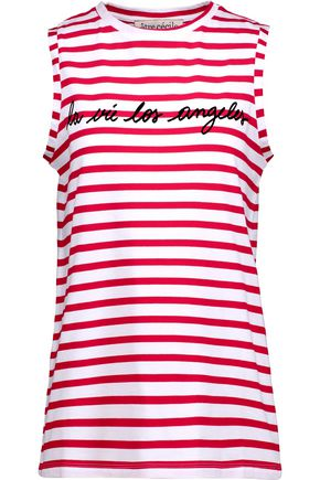 ÊTRE CÉCILE La Vie Los Angeles flocked striped cotton-jersey top