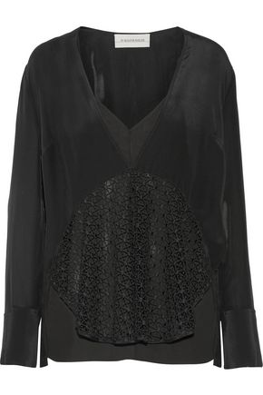 BY MALENE BIRGER Divoska lace-trimmed silk-satin blouse