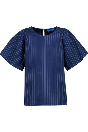 M.I.H JEANS Mina gathered striped cotton-canvas top
