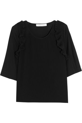 SEE BY CHLOÉ Ruffle-trimmed pleated crepe de chine top