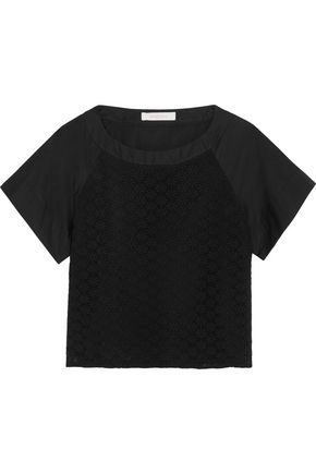 SEE BY CHLOÉ Macramé lace-paneled cotton-poplin top